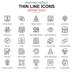 Thin line design tools, art and media icons set for website and mobile site and apps. Contains such Icons as Innovation, Painting. 48x48 Pixel Perfect. Linear pictogram pack. Vector illustration.