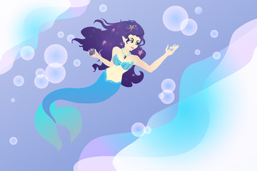 Mermaid female vector illustration