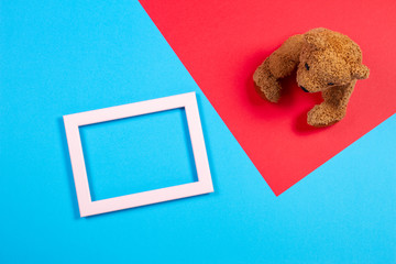 Teddy bear and white empty frame on colorful background