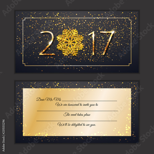 happy new year 2017 invite card gretings vip celebrate new year personal invitation sparkling golden