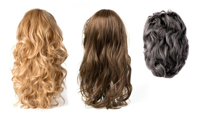 wigs isolated on white background