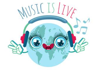 Vector illustration of a Earth with headphones. Cute cartoon Earth hear music in headphones