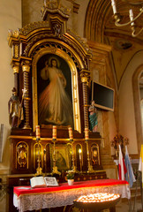 Wadowice, Poland, 02 September 2018: Church of the Presentation of the Blessed Virgin Mary in Wadowice, in the birth city of the holy Pope John Paul II.I nterior
