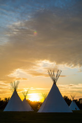 Indigenous Tee Pee on the Prairie at Sunset