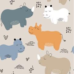 Hippopotamus seamless pattern. childish Vector illustration for fabric, textile, clothes, wallpaper,