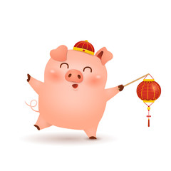 Chinese New Year 2019. Cute cartoon Little Pig character design with Festive traditional Chinese red lantern isolated on white background. The year of the pig. Zodiac of the Pig.