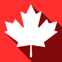 Simple, flat maple leaf icon. White silhouette, isolated on a red background. Casting a shadow