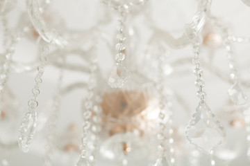 Chrystal chandelier close-up. Glamour background horizontal photo