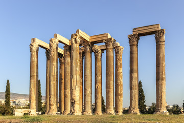 Facade of ancient Temple of Zeus in Athens Greece on the blue sky background