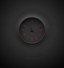 Realistic deep black round clock cut out on textured plastic dark background. Red round scale and numbers. Vector icon design or ui screen interface element.