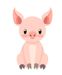 Cute pig sitting. Cartoon character design. Flat little piggy. Vector illustration isolated on white background