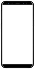 Brand new smartphone black color with white screen mockup. Front view of modern android multimedia smart phone easy to edit and put your image.