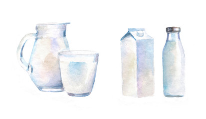 watercolor isolated illustration of water or milk, drawn pictures on a white background. jug with a glass, bottle and cardboard packaging