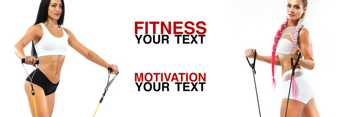 Fitness women athlete with expander. Template, banner or poster for sport ads. White background.