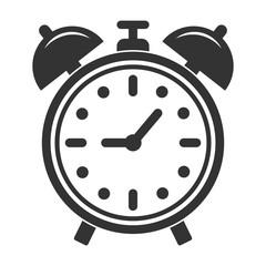 Simple, flat, retro alarm clock icon. Black silhouette illustration. Isolated on white