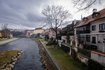 Cesky Krumlov, South Bohemian Region, Czech Republic -  January 4, 2014: View of the streets of the old Czech city