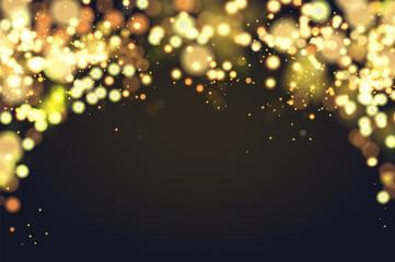 Abstract defocused circular Christmas golden bokeh sparkle glitter lights background. Magic christmas background. Elegant, shiny, metallic gold background. EPS 10.