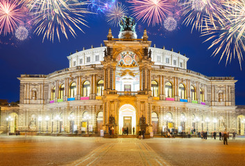 Opera house of Dresden at night with fireworks, Germany