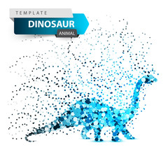 Dino, dinosaur - glare dot illustration. Vector eps 10