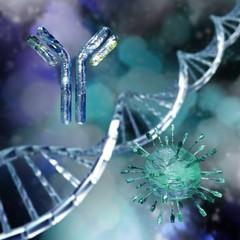 Antibody and virus against DNA, 3d rendering