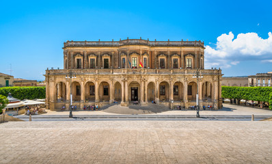 Palazzo Ducezio, seat of the municipality of Noto. Province of Syracuse, Sicily, Italy.