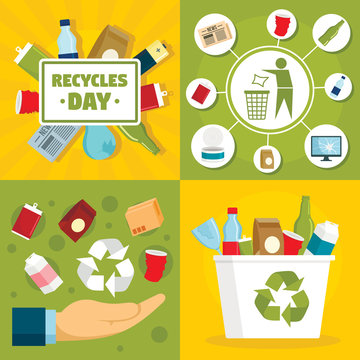 Recycles day banner set. Flat illustration of recycles day vector banner set for web design