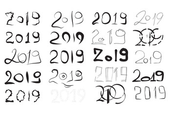 lettering 2019 vector handwritten numbers for new year and Christmas