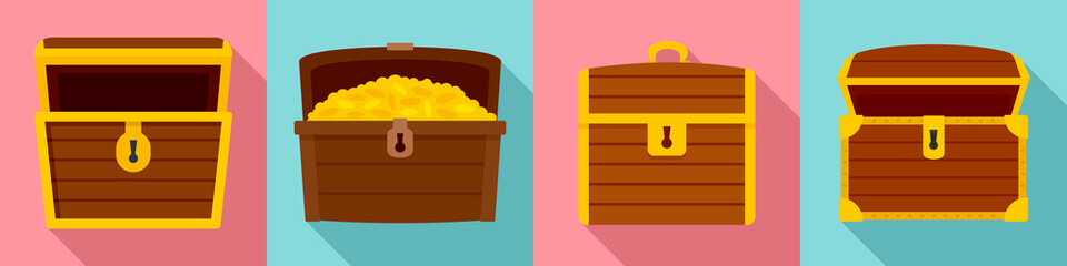 Dower chest icon set. Flat set of dower chest vector icons for web design