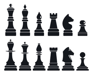 Chess game icon set. Simple set of chess game vector icons for web design on white background