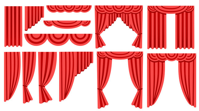 Collection of luxury red silk curtains and draperies. Interior decoration design. Flat icon. Vector illustration isolated on white background
