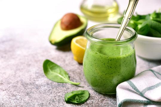 Homemade green avocado spinach sauce.