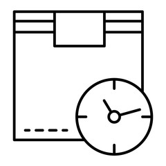 Cargo box and clock thin line icon. Package and clock vector illustration isolated on white. Fast delivery outline style design, designed for web and app. Eps 10.