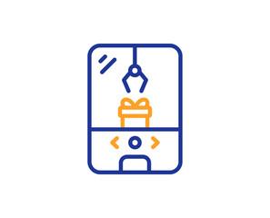 Crane claw machine line icon. Amusement park sign. Carousels symbol. Colorful outline concept. Blue and orange thin line color icon. Crane claw machine Vector