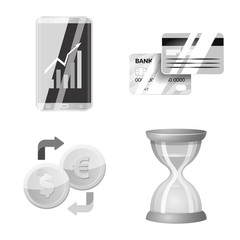 Isolated object of bank and money logo. Collection of bank and bill stock symbol for web.