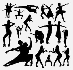 Dancer male and female action silhouette for symbol, logo, web icon, mascot, game elements, mascot, sign, sticker design, or any design you want. Easy to use.