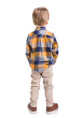 Rear view of little boy with hands in his pockets, isolated on white background