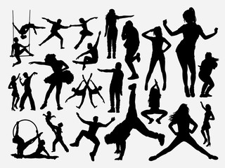 Dancing male and female silhouette for symbol, logo, web icon, mascot, game elements, mascot, sign, sticker design, or any design you want. Easy to use.