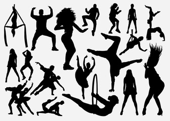 Sport dance male and female silhouette for symbol, logo, web icon, mascot, game elements, mascot, sign, sticker design, or any design you want. Easy to use.
