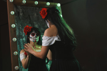 Halloween photo of witch woman with makeup