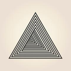 Triangle logo isometric, infinity sharp corner geometric shape illusion, hipster monogram converge overlapping line infinite icon, innovation tech delta emblem.