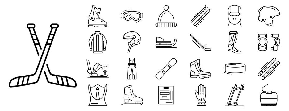 Winter sports icon set. Outline set of winter sports vector icons for web design isolated on white background