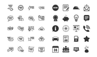 Quick tips line icons. Set of Helpful tricks, Solution and Quickstart guide linear icons. Tutorials, helpful tips and turning tricks symbols. Hand hold smartphone, Chat speech bubble. Vector
