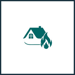 property In fire logo. house fire icon