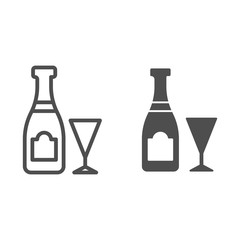 Champagne bottle and glass line and glyph icon. Drink vector illustration isolated on white. Alcohol outline style design, designed for web and app. Eps 10.