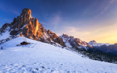 Fantastic winter landscape, Passo Giau with famous Ra Gusela, Nuvolau peaks in background, Dolomites, Italy, Europe