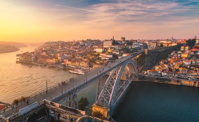 Fototapeta View of the historic city of Porto with the Dom Luiz bridge. Portugal, Porto