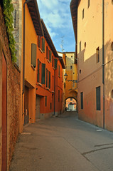 Imola, Italy, Laderchi street. Typical street in the center of the old town.