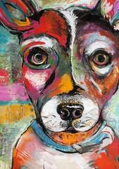 Original Dog Painting Illustration of a Rat Terrier