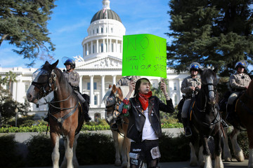 "Miller holds up a sign outside the California State Capitol building while protesting a ""Turn California Red"" rally in Sacramento"