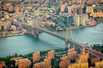 Aerial view of Brooklyn and Manhattan bridges